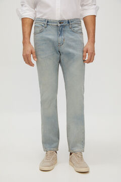 Cortefiel Slim fit organic light wash jeans Light blue