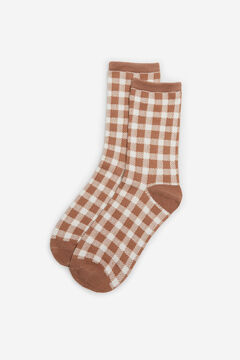 Cortefiel Knee length gingham socks Stone