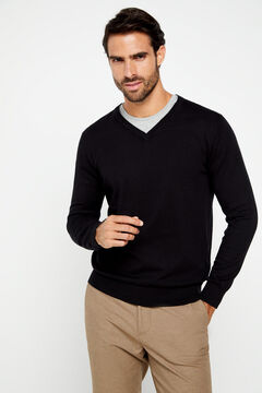 Cortefiel V-neck jumper Black