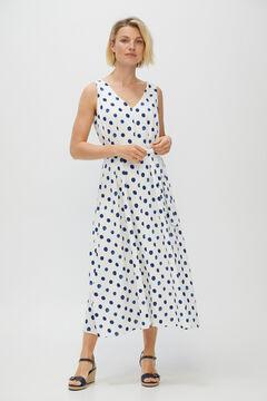 Cortefiel Midi V-cut dress Ecru