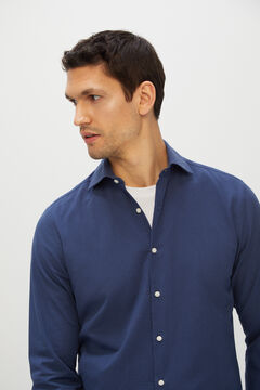Cortefiel Plain seersucker shirt Navy