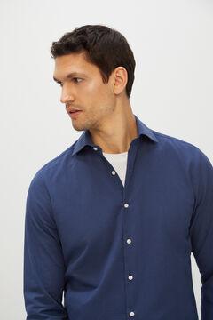 Cortefiel Camisa lisa tejido seersucker Azul