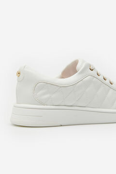 Cortefiel Diamond quilted ultralight trainer White