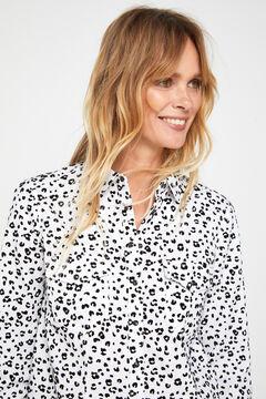Cortefiel Printed comfort fit denim shirt Ecru