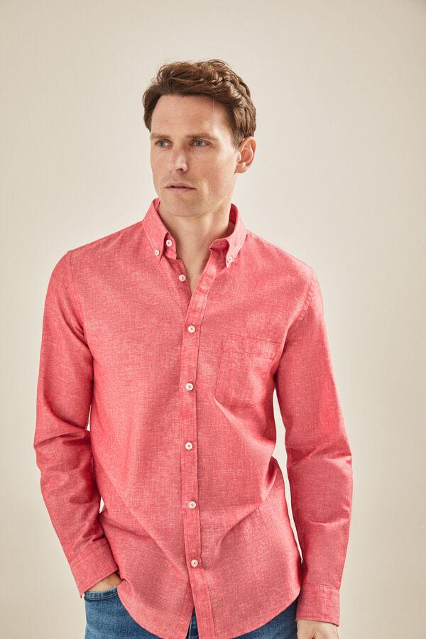 d5fb7249be Cortefiel Camisa lisa de lino algodón Rojo