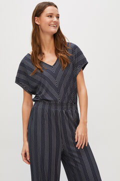 Cortefiel Striped jacquard jersey-knit jumpsuit Blue