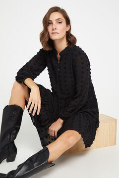 Cortefiel Black flounced dress Black
