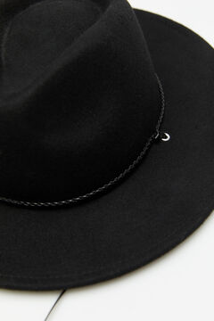 Cortefiel Hat with braided ribbons Black