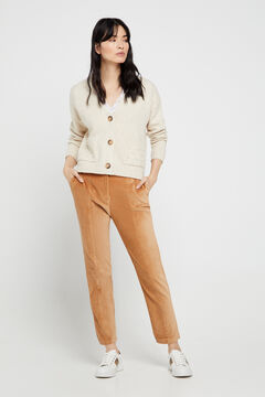 Cortefiel Velour trousers. White