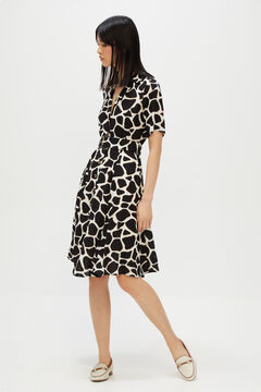 Cortefiel Printed dress with belt Ecru