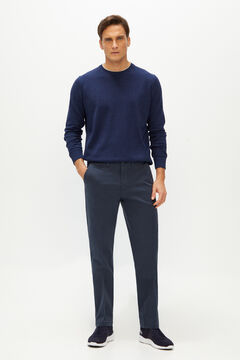 Cortefiel Textured regular fit trousers with elasticated waist Navy