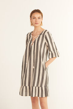 Cortefiel Striped kaftan with pompoms and shells Ecru