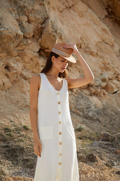 Cortefiel Vestido midi de canalé Blanco