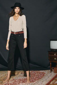 Cortefiel Straight cropped jeans Black
