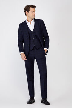 Cortefiel Checked slim fit suit trousers Navy