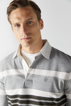 Cortefiel Striped long-sleeved polo shirt Gray