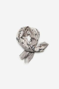 Cortefiel Logo print scarf Ecru