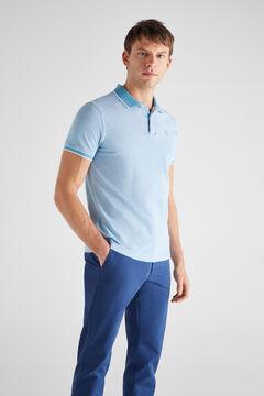 Cortefiel Essential short-sleeved polo shirt Light blue