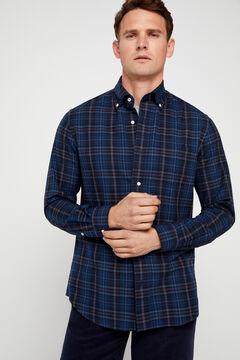 Cortefiel Camisa xadrez twill Azul