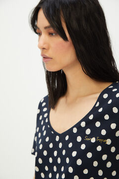 Cortefiel Polka-dot slogan print T-shirt Navy