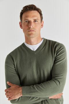 Cortefiel Cotton/cashmere V-neck jumper  Green