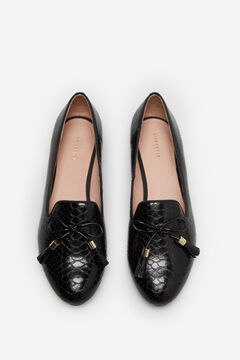 Cortefiel Snake embossed slip-on with bow and tassels Black