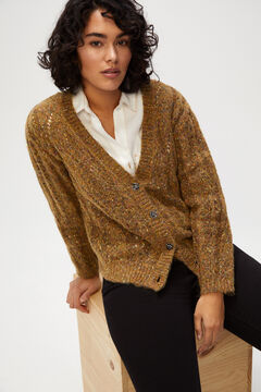 Cortefiel Jewel button multi-yarn jacket Beige