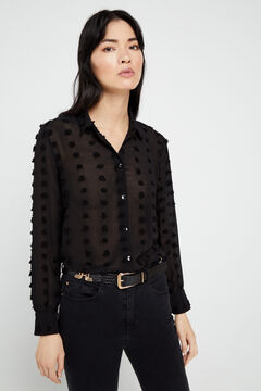 Cortefiel Relief fabric shirt Black