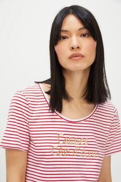 Cortefiel Striped embroidered slogan T-shirt Redgarnet