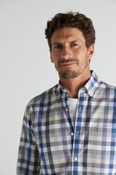 Cortefiel Checked shirt in extra soft, easy care cotton Gray