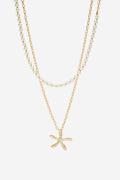 Cortefiel Long starfish necklace Beige