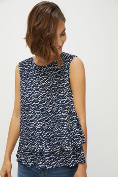 Cortefiel Pleated blouse Blue