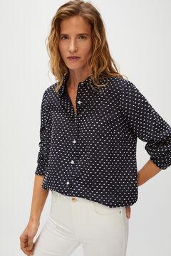 Cortefiel Long-sleeved plumetis shirt Black
