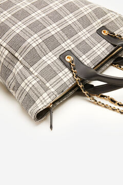 Cortefiel Checked fabric bag Gray