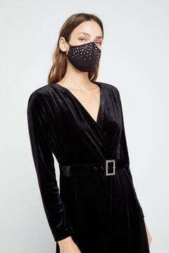 Cortefiel Black crystals face mask Black