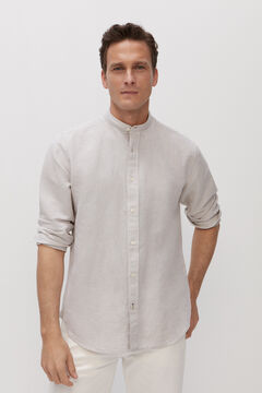 Cortefiel Cotton and linen mandarin shirt Stone