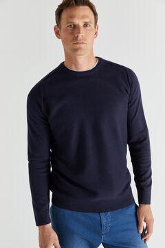 Cortefiel Crew neck jumper with textured front Navy