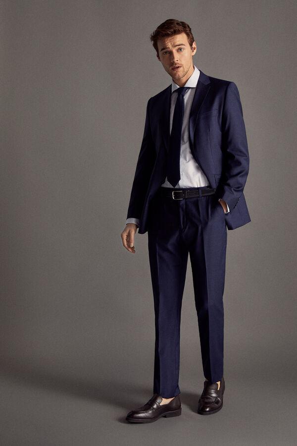 Cortefiel Pantalón traje rayas tailored fit Azul a7b7606aa63