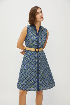 Cortefiel Embroidered sleeveless dress Blue