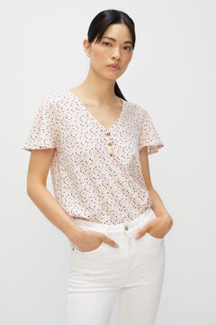 Cortefiel Basic t-shirt with buttons Natural