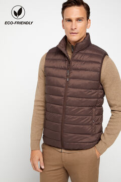 Cortefiel Ultralight quilted vest with Thermolite eco Dark brown