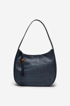 Cortefiel Raffia slouch handbag Navy