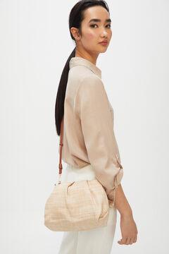 Cortefiel Raffia crossbody bag Brown