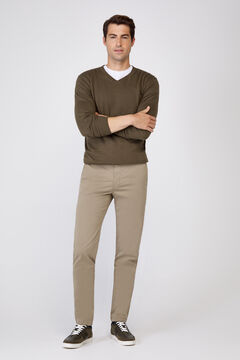 Cortefiel Plain slim fit chinos with elasticated waist  Dark gray