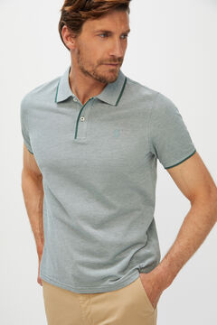 Cortefiel Oxford fabric short-sleeved polo shirt Green