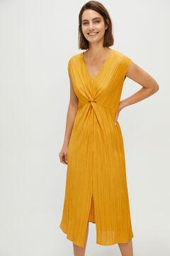 Cortefiel Jersey-knit knot detail dress Beige