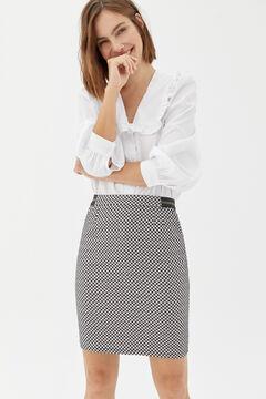 Cortefiel Straight gingham skirt Natural