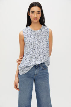 Cortefiel Sleeveless combined top Blue