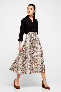 Cortefiel A-line midi skirt Natural