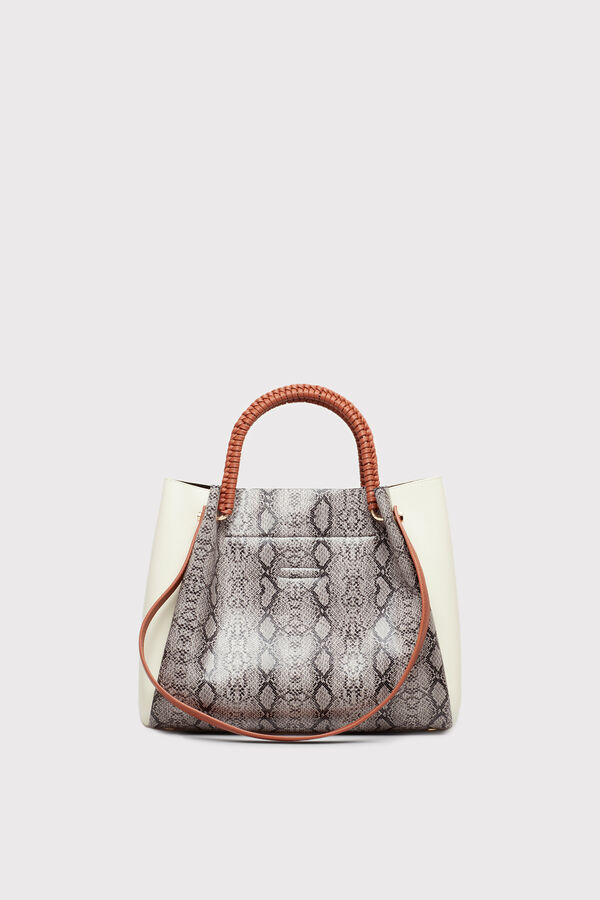 4f42b1181a Cortefiel Tricoloured snakeskin hobo bag Printed